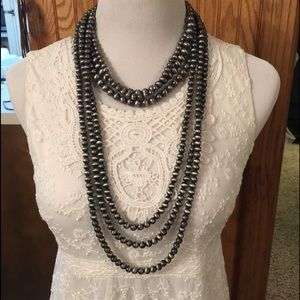 Jewelry - Chunky Pewter Navajo Bead 6 Strand Necklace